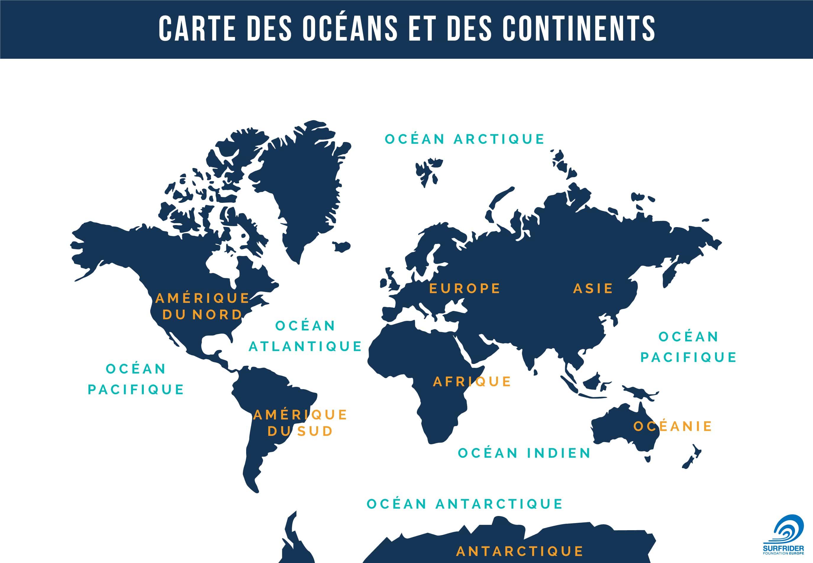 Carte Marine Afrique Du Sud.Carte Des Oceans Et Des Continents Surfrider Ocean Campus